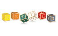 Word BETTER written with alphabet blocks