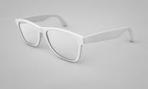 Modern glasses on white background