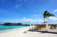 Beautiful beach with water at Maldives