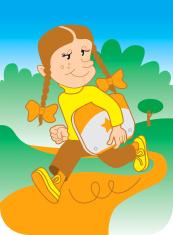 Little Girl running in park carrying laptop under her arm