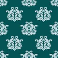 Pretty seamless damask style pattern in blue