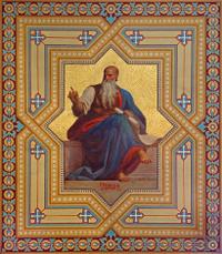 Vienna - Fresco of Amos prophet in Altlerchenfelder church.