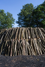fresh made charcoal kiln in german forest