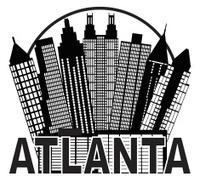 Atlanta Skyline Circle Black and White Vector Illustration