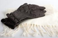 leather gloves & white shawl