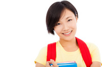closeup of smiling student girl over white background