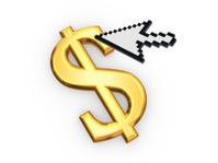 Cursor and symbol of dollar..