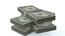 Stack of $1 bills - Stock Image