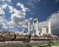Roman Corinthian columns at Citadel Hill, Amman, Jordan