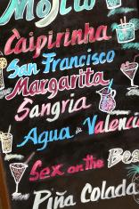 Blackboard promoting cocktails in Valencia, Spain