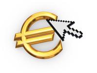 Cursor and symbol of euro.