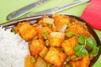 Indian Meal Food Cuisine Vegetarian Panir and Peas Curry