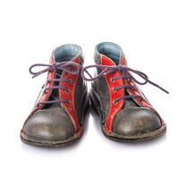 Leather boots for kids isolated on white background