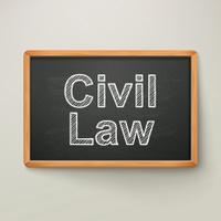 civil law on blackboard in wooden frame