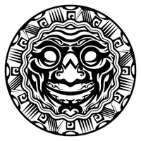 Round Vector Smiling Face Polynesian Tattoo