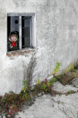 yung men look at a window