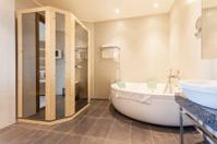 Interior of a bathroom with sauna