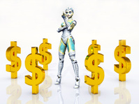 Female Robot and Dollar Signs