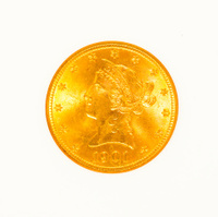 Gold Liberty Head Coin Isolated