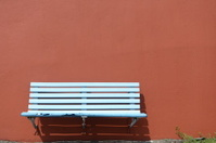 Bench on wall