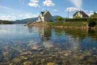 remote norwegian shore on hardangerfjord