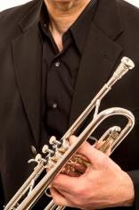 Trumpet in man hand