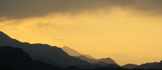 Panoramic sunset in the mountains of Japan