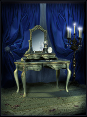 Dressing room with blue curtains