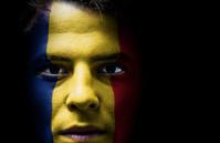Romania. Romanian flag on face