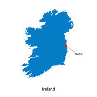 Detailed vector map of Ireland and capital city Dublin