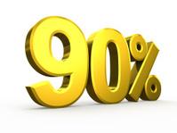 Ninety percent symbol on white background