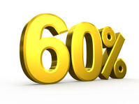 Sixty percent symbol on white background