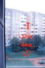 Handwriting Message I love you on a windowpane