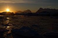 sunset over the ocean Antarctic winter evening