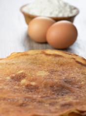 Eggs, pancakes, flour