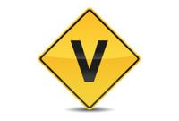 Icon Traffic Sign Alphabet Font V