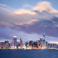 Auckland Skyline New Zealand Twilight Dramatic Sky