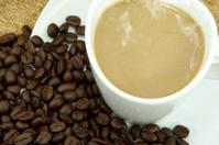 Coffee and coffee bean on Fabric handmade.