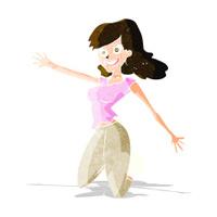 cartoon jumping woman