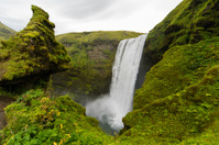 super wide angle shot of Skogafoss waterfall