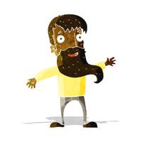 cartoon man with beard waving