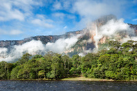 Angel Falls in Venezuela, with clouds