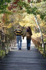 Couple on A Swinging Bridge