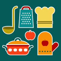 Colorful kitchen symbols