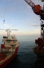 oil rig supply boat at sea