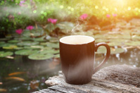 morning coffee with dark glass.
