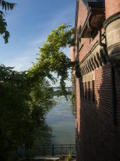 Brick wall and river