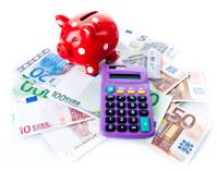 piggy bank and calculator.