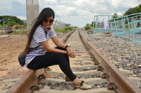 Portrait thai woman at railway train bangkok Thailand