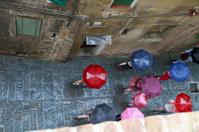 Schoolgirls With Umbrellas In Siena
